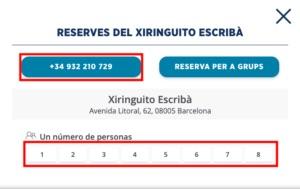 チリンギートエスクリバのバルセロナ本店の予約